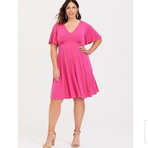 NWT Torrid Pink Flutter Sleeve Skater Dress